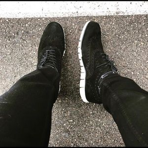 Cole Haan Men's black suede Zero Grand oxfords 11M